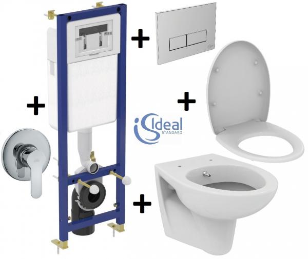 Pachet Complet Sistem WC Suspendat Ideal Standard cu functie de bideu - Gata de Montaj - Cadru fixare + Rezervor Ingropat, Clapeta Crom, Vas WC, Baterie Incastrata si Capac WC 0