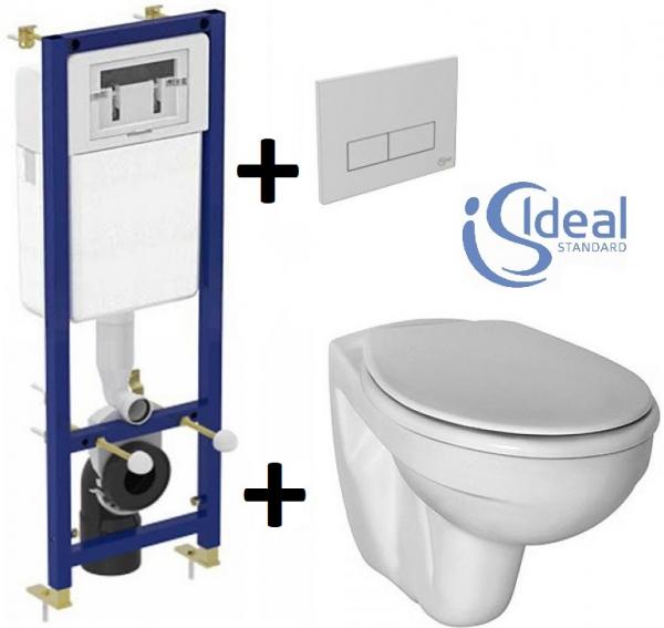 Pachet Complet Sistem WC Suspendat Ideal Standard - Gata de Montaj - Cadru fixare + Rezervor Ingropat, Clapeta Crom, Vas WC si Capac WC [0]