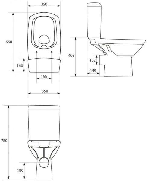 Pachet Complet Toaleta Cersanit Carina CleanON - Vas WC, Rezervor, Armatura, Capac Softclose, Set de Fixare 6