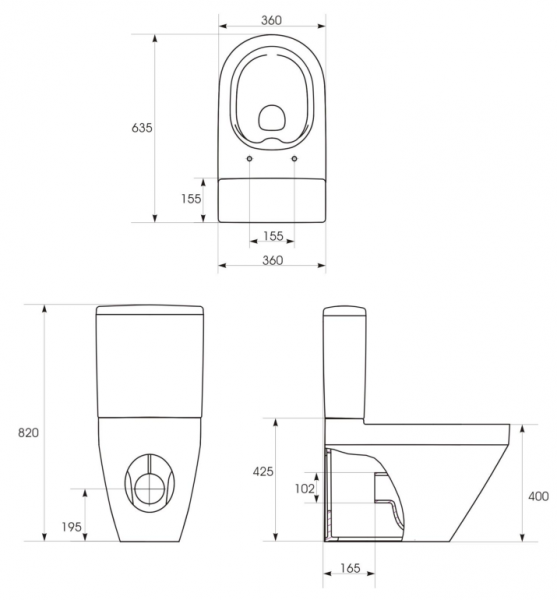 Pachet Complet Toaleta Cersanit Crea Oval - Vas WC, Rezervor, Armatura, Capac Slim & Soft, Set de Fixare 5