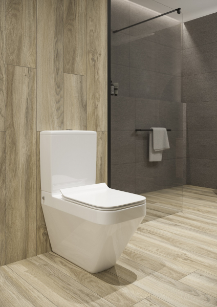 Pachet Complet Toaleta Cersanit Crea Rectangular - Vas WC, Rezervor, Armatura, Capac Slim & Soft, Set de Fixare [4]