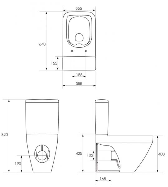 Pachet Complet Toaleta Cersanit Crea Rectangular - Vas WC, Rezervor, Armatura, Capac Slim & Soft, Set de Fixare [6]