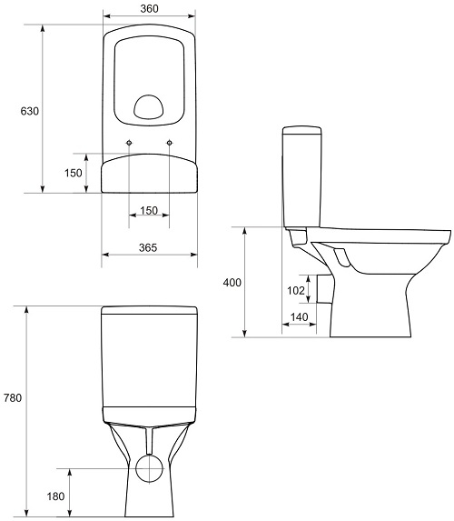 Pachet Complet Toaleta Cersanit Easy CleanON - Vas WC, Rezervor, Armatura, Capac Softclose, Set de Fixare 4