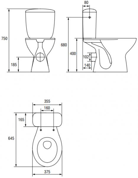 Pachet Complet Toaleta Cersanit President - Vas WC, Rezervor, Armatura, Capac, Set de Fixare - Model 1 [2]