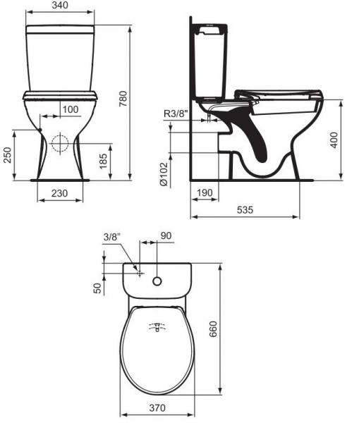 Pachet Complet Toaleta cu functie de bideu Vidima Sevafresh - Vas WC, Rezervor, Armatura, Capac, Set de Fixare 1