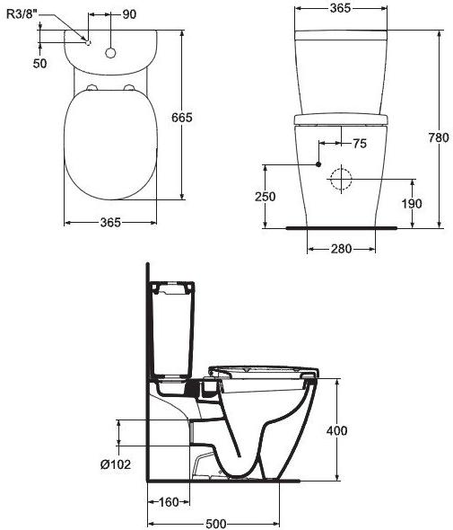 Pachet Complet Toaleta Ideal Standard Connect Arc - Vas WC, Rezervor, Armatura, Capac, Set de Fixare 4
