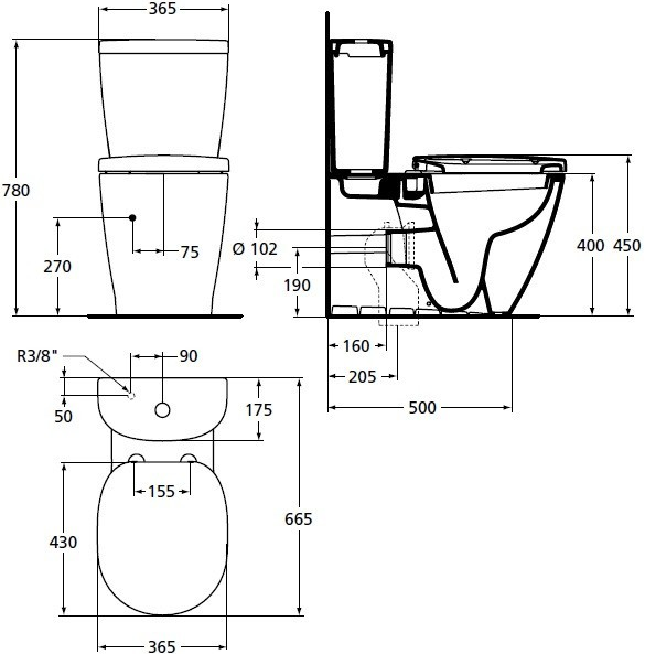 Pachet Complet Toaleta Ideal Standard Connect Back-to-Wall - Vas WC, Rezervor, Armatura, Capac Slim, Set de Fixare [4]