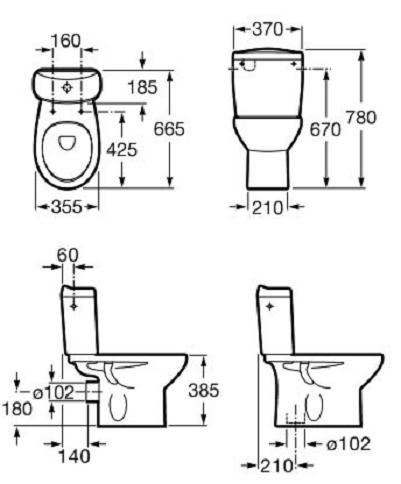 Pachet Complet Toaleta Roca Victoria - Vas WC, Rezervor, Armatura, Capac, Set de Fixare - Model 1 1