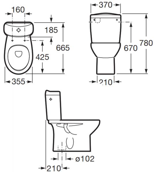 Pachet Complet Toaleta Roca Victoria - Vas WC, Rezervor, Armatura, Capac, Set de Fixare - Model 2 1