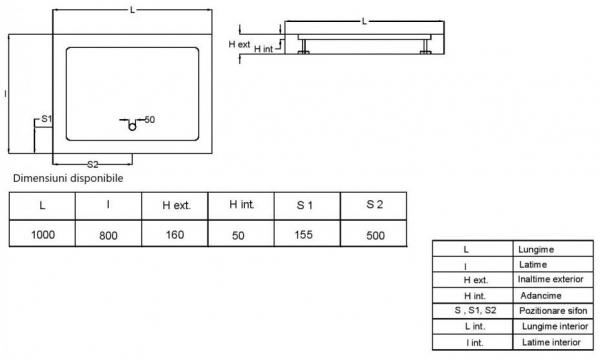 Pachet complet - Usa de nisa Radaway Premium 110 + Cadita Radaway Doros 110x80 + Sifon evacuare 12