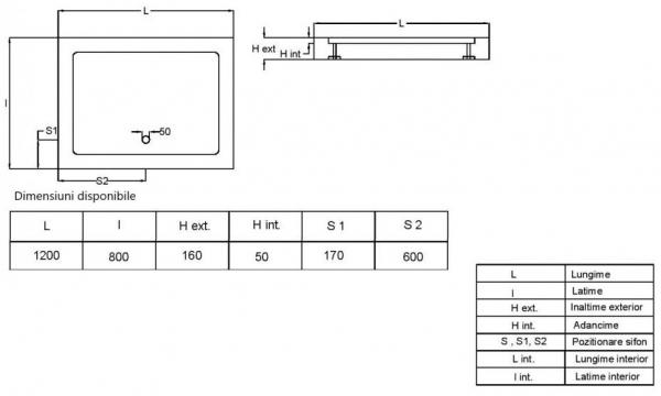 Pachet complet - Usa de nisa Radaway Premium 110 + Cadita Radaway Doros 110x80 + Sifon evacuare 15