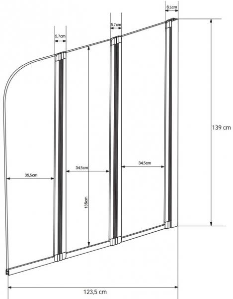 Paravan Cada Besco Ambition III 123,5x139 Transparent 5