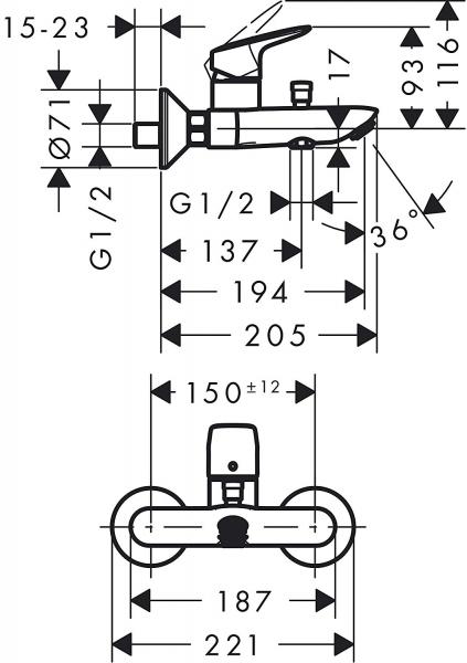 Set 3 in 1 Hansgrohe Logis 70 - Varianta pentru cada 6
