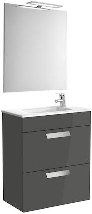 Set complet Roca Debba 600 Compact - Lavoar + Mobilier + Oglinda + Lampa LED + Sifon - Gri antracit 0