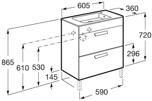 Set complet Roca Debba 600 Compact - Lavoar + Mobilier + Oglinda + Lampa LED + Sifon - Wenge deschis 5
