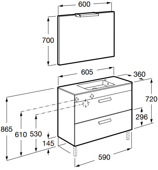 Set complet Roca Debba 600 Compact - Lavoar + Mobilier + Oglinda + Lampa LED + Sifon - Wenge deschis 8