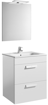 Set complet Roca Debba 600 - Lavoar + Mobilier + Oglinda + Lampa LED + Sifon - Alb 0