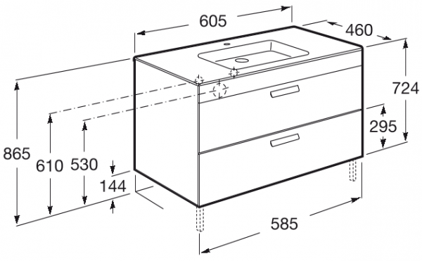 Set complet Roca Debba 600 - Lavoar + Mobilier + Oglinda + Lampa LED + Sifon - Wenge deschis 4