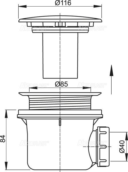 Sifon 90 mm scurgere cadita AlcaPlast 1