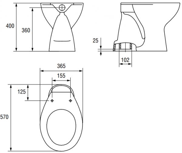 Vas WC pe pardoseala Cersanit President - Pentru rezervor la semi-inaltime - Scurgere in pardoseala [2]