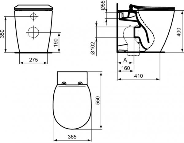 Vas WC pe pardoseala Ideal Standard Connect Aquablade - Back-to-Wall - Pentru rezervor incastrat 6