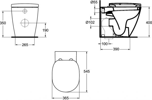 Vas WC pe pardoseala Ideal Standard Connect - Back-to-Wall - Pentru rezervor incastrat 3