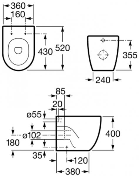 Vas WC pe pardoseala Roca Meridian - Back-to-Wall - Pentru rezervor incastrat 1