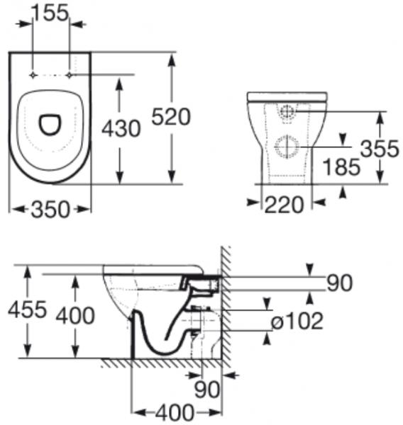 Vas WC pe pardoseala Roca Tipo Compact - Back-to-Wall - Pentru rezervor incastrat 1