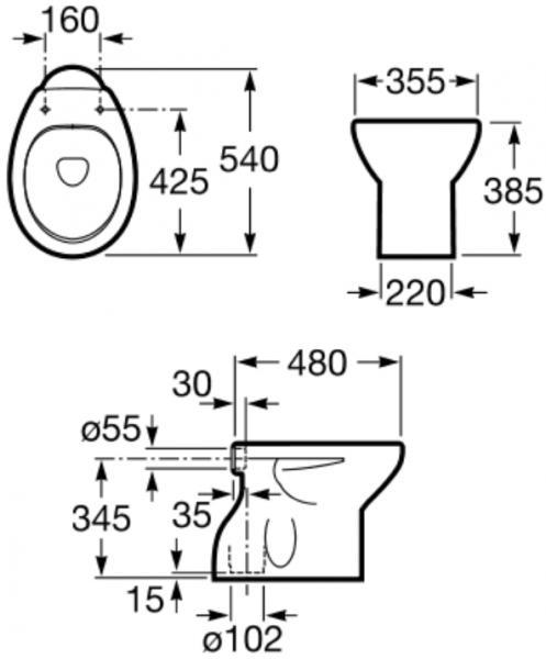 Vas WC pe pardoseala Roca Victoria - Pentru rezervor la semi-inaltime -  Scurgere in pardoseala 1