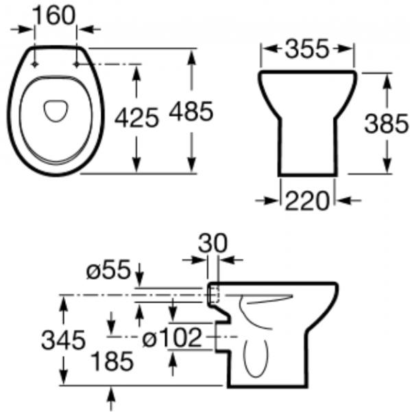 Vas WC pe pardoseala Roca Victoria - Pentru rezervor la semi-inaltime - Scurgere laterala 1