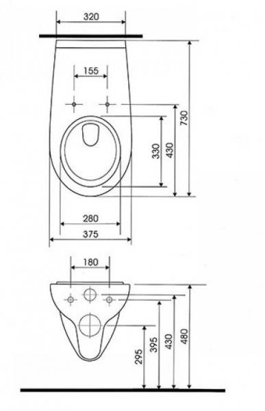 Vas WC Suspendat Cersanit Etiuda - CleanON - pentru persoane cu disabilitati 11