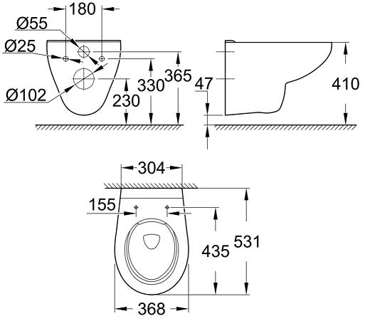 Vas WC Suspendat Grohe Bau Ceramic Rimless + Capac softclose 4