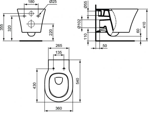 Vas WC Suspendat Ideal Standard Connect Air Aquablade- Fixare ascunsa 13