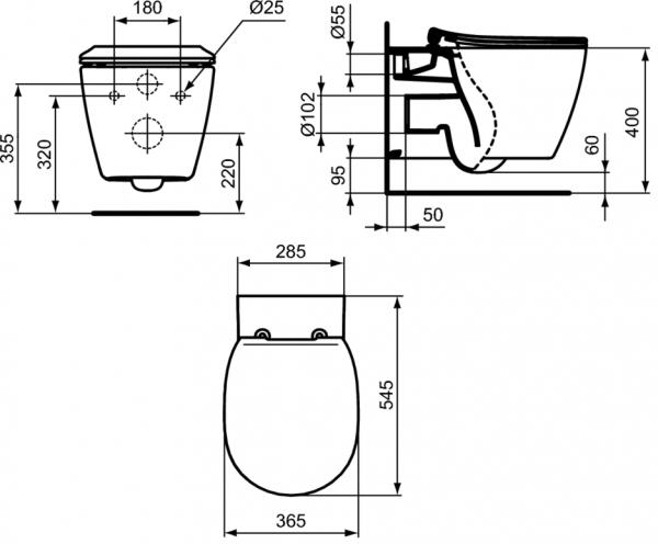 Vas WC Suspendat Ideal Standard Connect Aquablade- Fixare ascunsa [7]