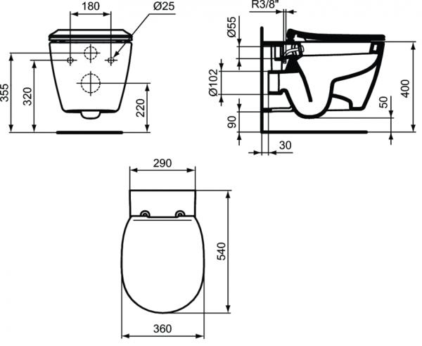 Vas WC Suspendat Ideal Standard Connect cu functie de bideu - Fixare ascunsa 2