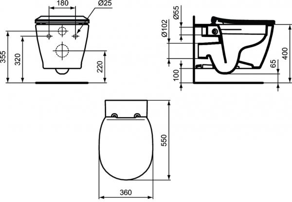 Vas WC Suspendat Ideal Standard Connect Rimless 8