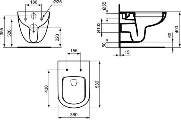 Vas WC Suspendat Ideal Standard Tempo Rimless 3