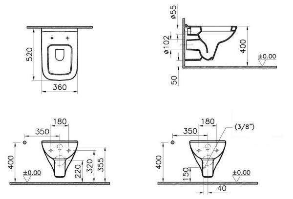 Vas WC Suspendat Vitra S20 cu functie de bideu [1]