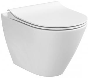 ALL IN ONE Incastrat - Cersanit City Oval CleanON - Capac soft and slim, clapeta sticla alba [7]