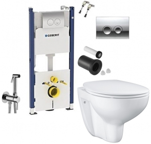 ALL IN ONE Incastrat - Geberit + Grohe Bau Ceramic Rimless + Paffoni - Cu dus Igienic0