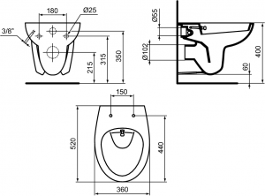 ALL IN ONE Incastrat - Geberit + Grohe + Eurovit - Cu functie bideu - Gata de montaj - Vas wc Ideal Standard Eurovit cu functie bideu + Capac softclose + Rezervor Geberit + Baterie incastrata Grohe10