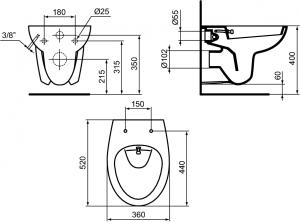 ALL IN ONE Incastrat - Geberit + Paffoni cu termostat + Vas wc Suspendat Ideal Standard Eurovit - Cu functie de bideu - Gata de montaj - Vas wc Suspendat Ideal Standard Eurovit cu functie de bideu + C10
