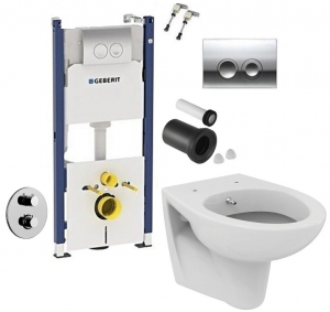 ALL IN ONE Incastrat - Geberit + Paffoni cu termostat + Vas wc Suspendat Ideal Standard Eurovit - Cu functie de bideu - Gata de montaj - Vas wc Suspendat Ideal Standard Eurovit cu functie de bideu + C0