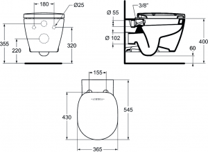 ALL IN ONE Incastrat - Grohe + Paffoni + Connect - Cu functie bideu - Gata de montaj - Vas wc Ideal Standard Connect cu functie bideu + Capac softclose + Rezervor Grohe + Baterie incastrata bideu Paff8