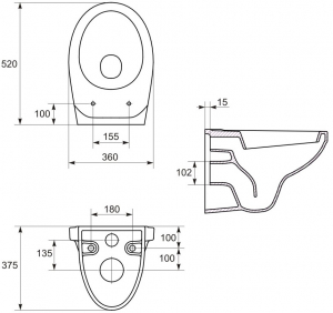 ALL IN ONE Incastrat - Ideal Standard + Cersanit Delphi - Cu dus Igienic - Gata de montaj - Vas wc Suspendat Cersanit Delphi + Capac softclose + Rezervor Ideal Standard3