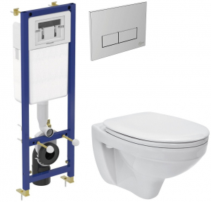ALL IN ONE Incastrat - Ideal Standard + Cersanit Delphi - Gata de montaj - Vas wc Suspendat Cersanit Delphi + Capac softclose + Rezervor Ideal Standard0
