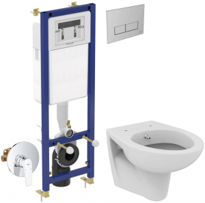 ALL IN ONE Incastrat - Ideal Standard + Grohe + Eurovit - Cu functie bideu - Gata de montaj - Vas wc Ideal Standard Eurovit cu functie bideu + Capac softclose + Rezervor Ideal Standard + Baterie incas0