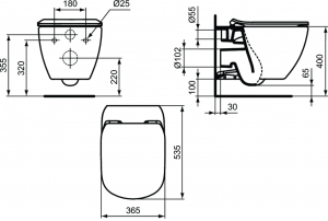 ALL IN ONE Incastrat - Ideal Standard + Ideal Standard Tesi Aquablade + Paffoni - Cu dus Igienic - Gata de montaj - Vas wc Suspendat Ideal Standard Tesi Aquablade + Capac softclose + Rezervor Ideal St9