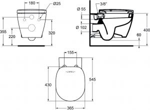 ALL IN ONE Incastrat - Ideal Standard + Paffoni + Connect - Cu functie bideu - Gata de montaj - Vas wc Ideal Standard Connect cu functie bideu + Capac softclose + Rezervor Ideal Standard + Baterie inc [9]