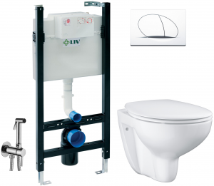 ALL IN ONE Incastrat - LIV + Grohe Bau Ceramic Rimless + Paffoni - Cu dus Igienic0